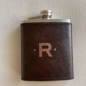 Pottery Barn saddle leather monogrammed R flask